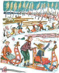 Alpine Games - Sledding - ALOIS CARIGIET Book Illustrations, Sled, Naive, Children's Books, Switzerland, Childhood, Printing, Games, Vintage