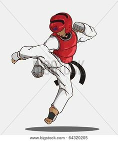 Picture or Photo of Create cartoon taekwondo martial art. vector and illustration