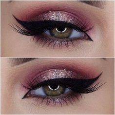 make up guide Makes para as festas de fim de ano make up glitter;make up brushes guide;make up samples; Eye Makeup Glitter, Prom Makeup, Cute Makeup, Gorgeous Makeup, Pretty Makeup, Perfect Makeup, Sweet 16 Makeup, Pink Eye Makeup, Gold Makeup