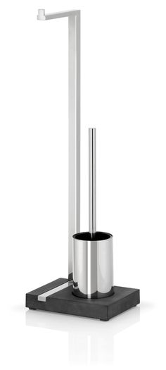 Features:  -Designer: Floz.  -Heavy duty polystone base.  -Stylish base for toilet paper and toilet brush.  Product Type: -Toilet Brush Set.  Finish: -Stainless Steel.  Material: -Metal.  Mount Type: