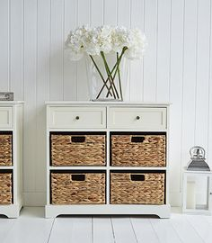 Padstow Cream Sideboard with basket drawers for your living room or hall