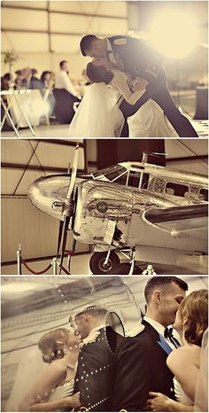 1940's aviation wedding. Old Hollywood meets aviation. Black & white & silver. Very formal. Boarding passes as invitations. Airplane hangar at an airport as the venue. Silver aluminum/chrome airplanes parked outside.