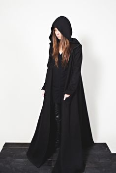 BLACK SKOGR cotton coat. Made in USA. Sisters of the Black Moon.