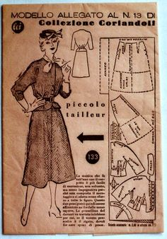 "1950s fashion pattern, Italian fashion magazine ""Lei"". Photo credit: Paola De Giovanni"