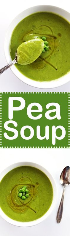 Pea Soup - A simple soup recipe that only requires 7 ingredients and 20 minutes! Refresthing, and pererfect for spring! Vegan/Gluten Free! | robustrecipes.com