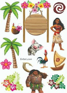 Topo de Bolo Moana Moana Theme Birthday, Moana Themed Party, Moana Party, Diy Party Frame, Festa Moana Baby, Bolo Moana, Diy And Crafts, Crafts For Kids, Baby Clip Art