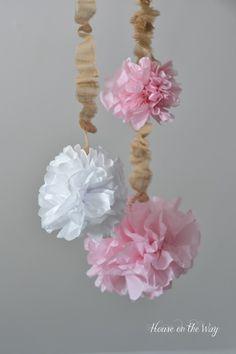 Tissue Paper Pom-Poms with Burlap Cord Cover