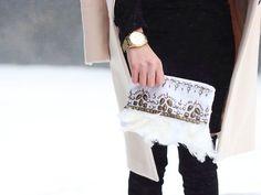 Marina McAvoy. Feather clutch