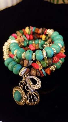 Turquoise & marble multiwrap bracelet  by marianne