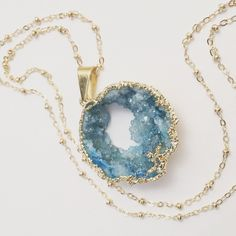 Long Aqua Druzy Necklace, Large Turquoise Natural Stone Pendant, Ocean Geode, Layering Jewelry, Beach Inspired by chipandchisel on Etsy https://www.etsy.com/listing/250158829/long-aqua-druzy-necklace-large-turquoise