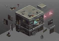 Shadowrun Returns: First In-Game Assets and Concept Art Shadowrun Returns, Casino Party Games, 3d Building, Building Concept, Game Assets, 3d Assets, By Any Means Necessary, Video Wall, Video Game Art