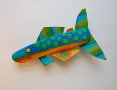 Fish Art - Whimsical Colorful Blue, Green, Orange Ready to Hang Painted Driftwood - Crazy Whimsical Funky Fish Art. $47,00, via Etsy.