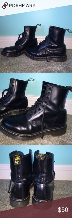 Black Doc Martens Black Doc Martens, worn a few times, have a couple little scratches here and there but otherwise in excellent condition! Dr. Martens Shoes Lace Up Boots