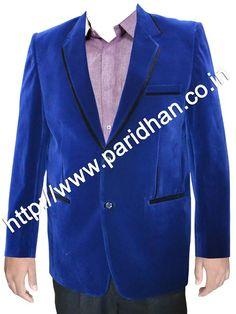 Good looking blue velvet blazer made from blue color uncrushable velvet fabric. Dry clean only.