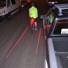 Bicycle Laser Lane Maker http://www.becauseordinarysucks.com/bicycle-laser-lane-maker/