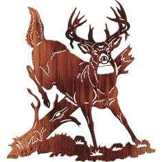 Jumping Buck Deer Metal Wall Art