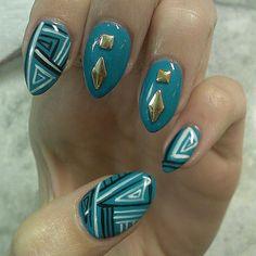 Tribal nail art, hand painted!