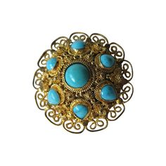 Sterling Silver Vermeil Filigree Turquoise Vintage by openslate