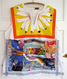 Vintage BUCILLA Table Linen Buttons, Crazy Quilt, Mosaic Wearable COLLAGE Art TUNIC   mybonny