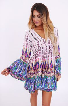 Ivory/Multi Print Bell Sleeve Dress - Dottie Couture Boutique