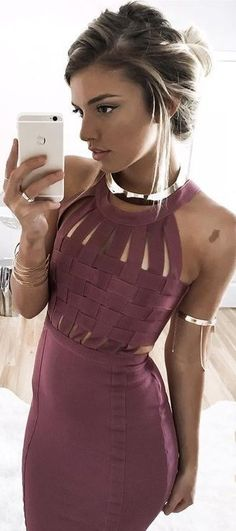 #summer #young #outfits | Mauve Bandeau Dress