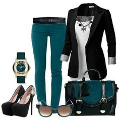Turquoise pants, black blazer, great work outfit!