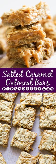 Salted Caramel Oatmeal Bars | Deliciously gooey and irresistible, these bars are the perfect party dessert!
