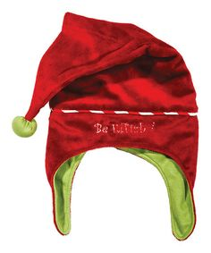 Take a look at this Red & Green 'Be Elfish' Earflap Santa Hat by Bunnies by the Bay on #zulily today!