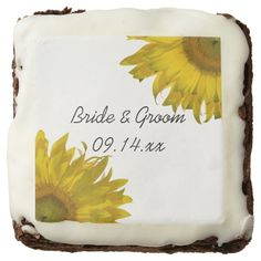 Yellow #Sunflower #Wedding #Chocolate #Brownies These delicious and pretty personalized Yellow Sunflower Chocolate Brownies make a great engagement party, shower or wedding favor or add them to your dessert table for a tasty treat. Customize them with the names of the bride and groom and specific marriage ceremony date. These cute and custom floral wedding fudge brownies feature yellow #sunflowers adorning the corners with a white background. #sunflowerwedding  #weddingfavors