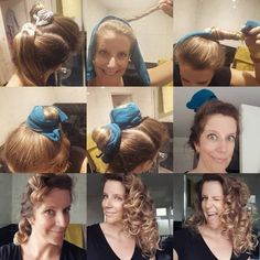 Your local, friendly Mistress of Socks is back for your regular(ish) installment of Easy Curled Hairstyles, Sock Bun Hairstyles, Cute Girls Hairstyles, Overnight Hairstyles, Updo Hairstyle, Prom Hairstyles, Curling Hair With Socks, Hair Curling Tips, Heat Free Curls