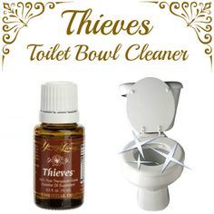 Save money by making this DIY toilet bowel cleaner using Young Living Thieves Essential Oil.  Recipe:  2 drops Thieves essential oil 1/4 cup baking soda Place both ingredients directly inside toilet bowl.  Use toilet brush to gently stir the ingredients and allow them to sit for a couple of minutes.  Scrub inside of toilet bowl with toilet brush thoroughly.