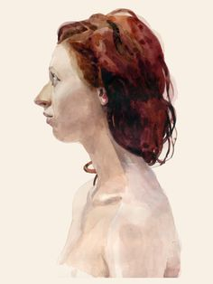 Claire, portrait by Will Freeborn. Good for study of facial shadows. Watercolor Portraits, Watercolor And Ink, Figure Painting, Painting & Drawing, Johannes Itten, Portrait Art, Portrait Paintings, People Art, Life Drawing