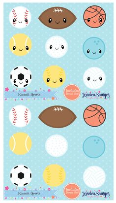 Kawaii Sports Clipart for planner stickers, crafts, and products