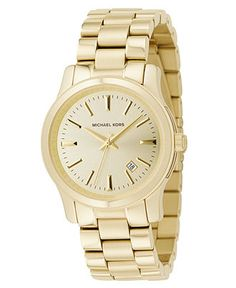 Michael Kors Watch, Women's Runway Gold Ion-Plated Stainless Steel Bracelet 38mm MK5160 - For Her - Jewelry & Watches - Macy's