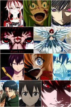 LIST OF CHARACTERS 1. Lucy from elfen lied 2. Yuno gasai from mirai Nikki 3. Lelouch lamperouge from code geass 4. Yagami light from death note 5. Shion sonozaki from higurashi nonnaku koro ni 6. Rena from Higurashi no Naku koro ni 7. Erza scarlet from fairy tail 8. Zeref from fairy tail 9. Levi from attack on Titan 10. Kirito from sword art online 11. Rin okumura from ao no exorcist