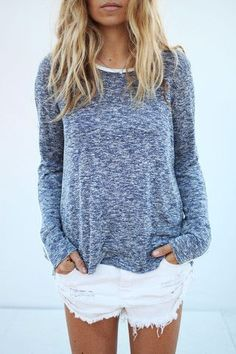 Slouchy sweater and White cut offs