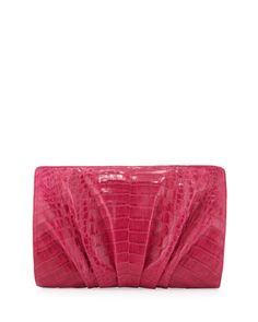 Crocodile Ruched Clutch Bag, Pink by Nancy Gonzalez at Bergdorf Goodman.