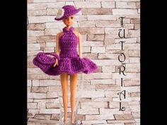 Sukienka dla Barbie 2. + torebka + kapelusz. Crochet Barbie dress + hat+ purse. Tutorial - YouTube