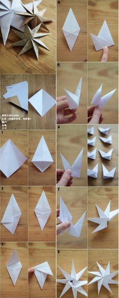 paper stars for christmas tree DIY