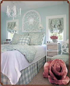 Frame over bed, instead of headboard. #shabby #bedroom #decorating