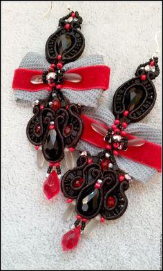 """Купить Сутажные серьги """"Королева Виктория"""" (черный, серый, серебряный сутаж) - черный, красный, бордовый"""