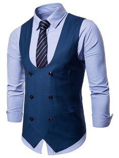 Double Breasted Solid Color U Neck Waistcoat Blue Suit Men, Mens Suit Vest, Mens Suits, Beach Wedding Men, Wedding Tux, Mens Double Breasted Blazer, Cool Outfits For Men, Classy Suits, Smart Casual Men