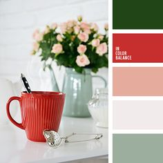 Free collection of color palettes ideas for all the occasions: decorate your house, flat, bedroom, kitchen, living room and even wedding with our color ideas. Green Color Pallete, Color Schemes Colour Palettes, Paint Color Schemes, House Color Schemes, Bedroom Color Schemes, Green Colors, Gray Green, Warm Color Schemes, Kitchen Colour Schemes