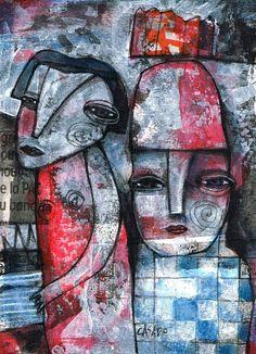 THE RED CASTLE by Dan Casado  acrylic and collage on paper   www.dancasado.com
