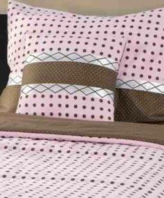 Katie 3 Piece Bedding Set, Pink & Chocolate, 100 percent cotton