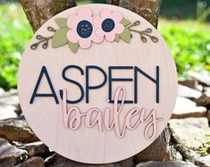 Personalized Name Wood Sign Round Personalized Baby Name Sign Custom Name Nursery Sign Kids Name Sign Wooden Personalized Name Sign