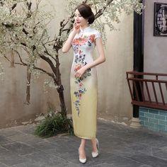 Novelty Gradient Chinese Women Vintage Satin Long Qipao Sexy Slim Cheongsam Elegant Flower Party Dress Size S M L XL XXL C0038