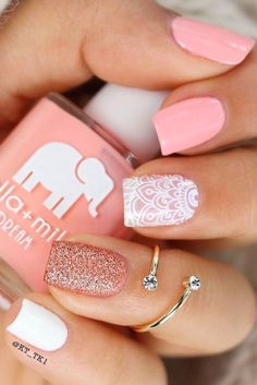 50 Sweet Pink Nail Design Ideas for a manicure that's just what you need - Nagellack Tropical Nail Designs, Pink Nail Designs, Acrylic Nail Designs, Nails Design, Pink Manicure, White Nails, Pink Nails, Sparkle Nails, Glitter Nails