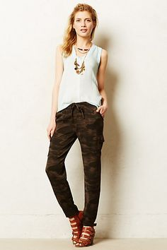 Anthropologie: Camo Joggers, Price: $118. Gagging at that price and I would switch out the shoes but fab