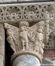 """Detail, the Creation, Romanesque capital of the Church of San Sernin, built 1077 to 1096 inToulouse France"" Romanesque Sculpture, Romanesque Art, Romanesque Architecture, Toulouse, Architecture Romane, Graven Images, Ancient World History, High Middle Ages, Ange Demon"